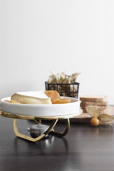 Rechaud Para Queijo Brie Linea Riva Aço Inox Revestido em Ouro 24K