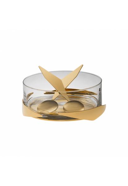 Saladeira com Par de Talheres Sava Baixa Riva Ouro 27 cm