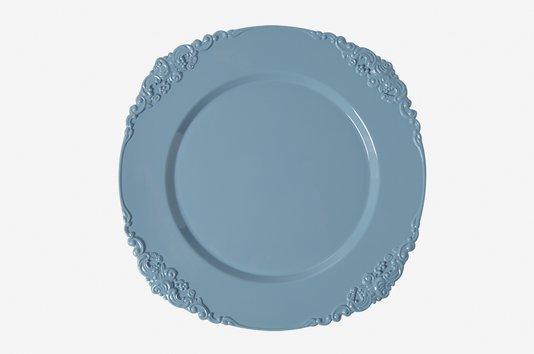 Sousplat Para Chá Redondo em Polipropileno Manu Fisch Azul 25 cm