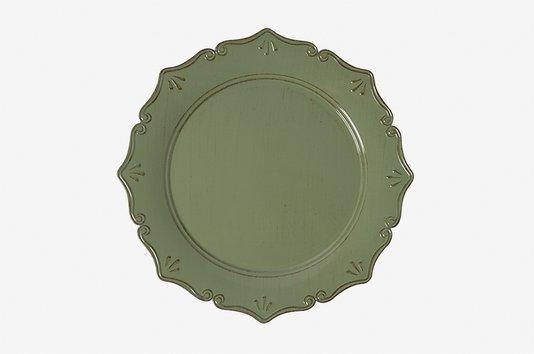 Sousplat Para Chá em Polipropileno Manu Fisch Verde e Marrom 25 cm