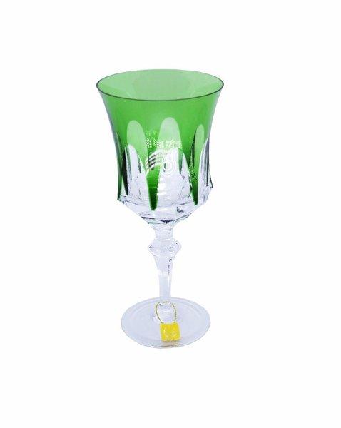 Taça para Água em Cristal Overlay Mozart Verde Escuro 400 ml