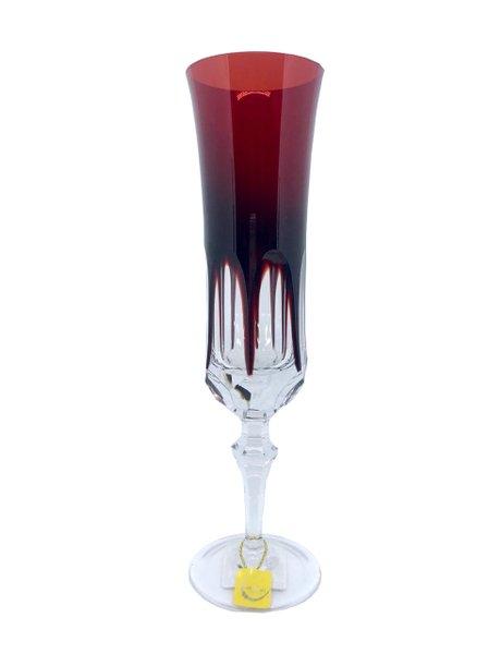 Taça para Champagne em Cristal Overley Mozart Vermelho 210 ml