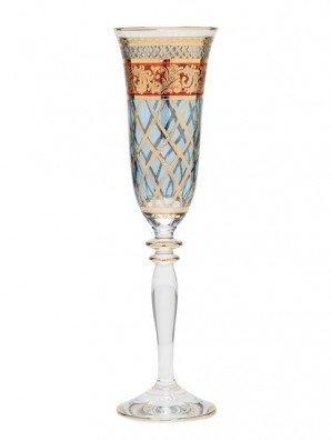 Taça para Champagne em Cristal Stock House Azul e Vermelho 160 g
