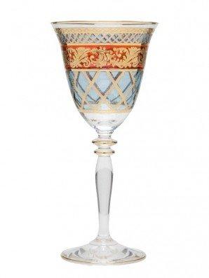Taça para Vinho em Cristal Stock House Azul e Vermelho 185 g