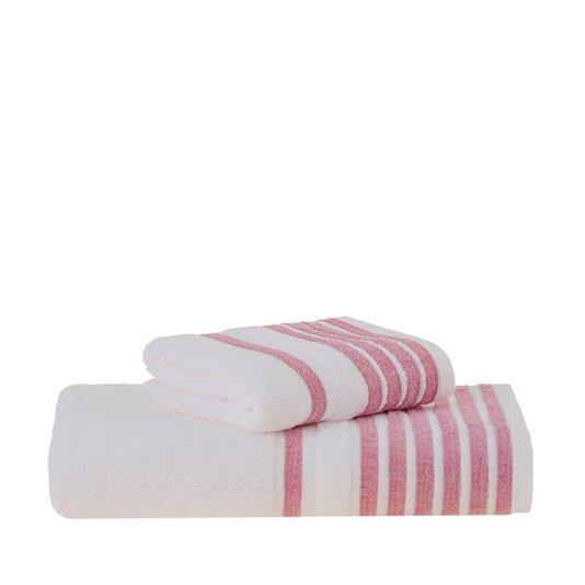 Toalha De Banho Modern Gigante Buddemeyer Branco E Vermelho