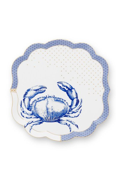 Travessa Crab Royal Yerseke Pip Studio Branco e Azul