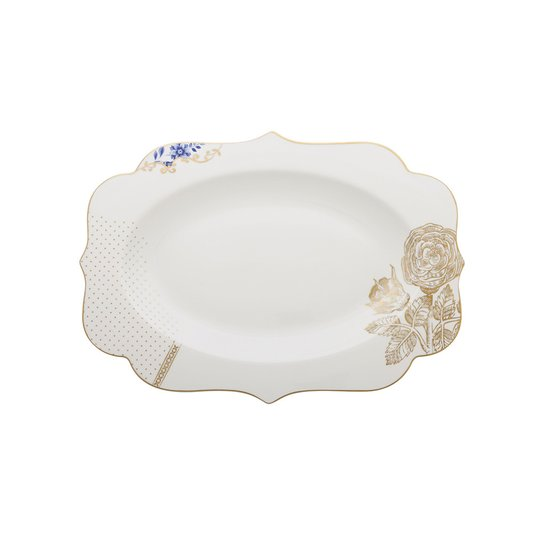 Travessa Oval Royal White Pip Studio 40 cm