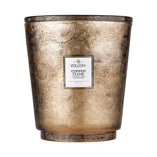 Vela Pedestal Copper Clove 5 Pavios Voluspa 250 Horas