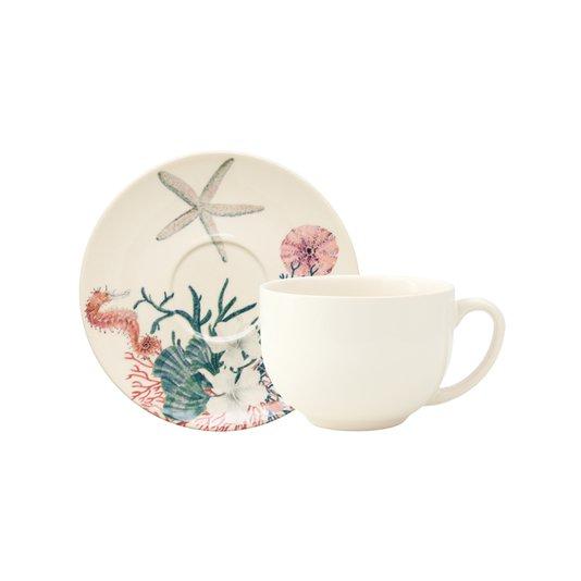 Xícara de Chá com Pires Argile Aquarelle Sea Copa & Cia Estampado