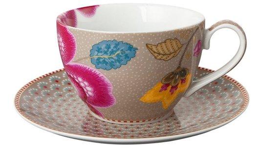 Xícara de Chá com Pires Floral Fantasy Pip Studio Cáqui