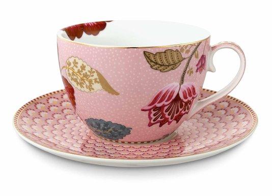Xícara de Chá com Pires Floral Fantasy Pip Studio Rosa