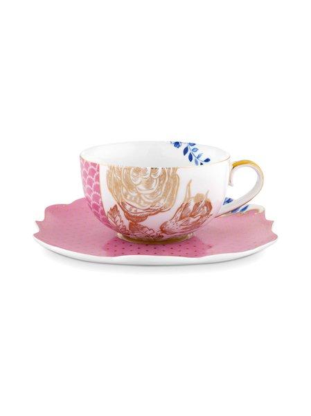 Xícara de Chá com Pires Royal Pip Studio Rosa 225 ml