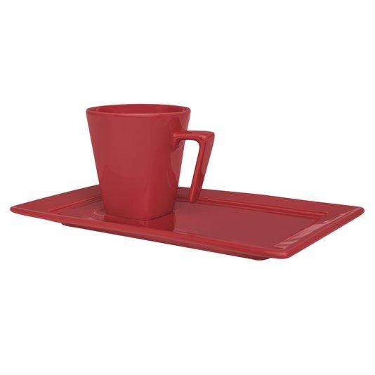 Xícara para Chá com Pires Plateau Red Oxford Vermelho