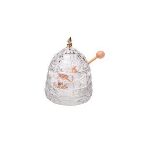 Meleira de Vidro com Pegador de Madeira Abelha Bohemia 11,5 cm