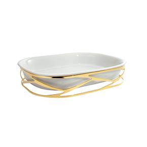 Refratário com Suporte Trama Riva Ouro e Porcelana 37 cm